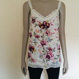 WHBM floral embroidered camisole top pink white